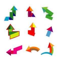 colorful paper arrow stickers with shadows on vector image