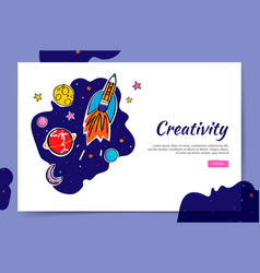 creativity website and space graphic doodle vector image