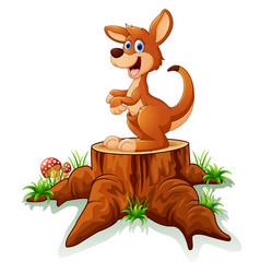 cute baby kangaroo posing on tree stump vector image