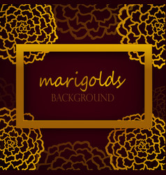 Dark red background with golden marigolds vector