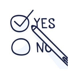 doodle pen write yes vote on a voting paper flat vector image