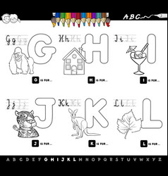 Educational cartoon alphabet for kids color book vector