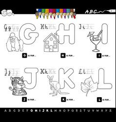 educational cartoon alphabet for kids color book vector image
