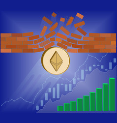 Ethereum coin breaks through the wall resistance vector