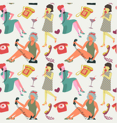 faceless woman with phone seamless pattern vector image