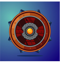 Fantasy shield magic weapon with crystal game vector