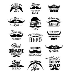 father day icons with mustaches vector image