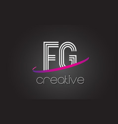 fg f g letter logo with lines design and purple vector image