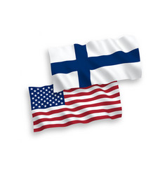 Flags finland and america on a white background vector