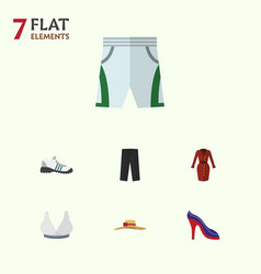 Flat garment set of heeled shoe sneakers pants vector