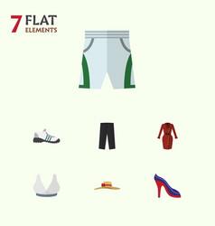Flat garment set of heeled shoe sneakers pants vector