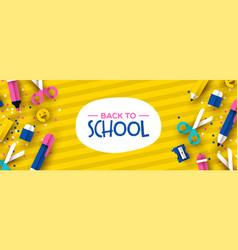 fun back to school 3d papercut kid supplies banner vector image