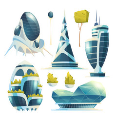 future city buildings skyscrapers and trees vector image