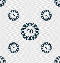 Gambling chips icon sign seamless pattern with vector