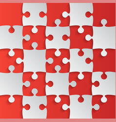 grey puzzle pieces red - jigsaw field chess vector image