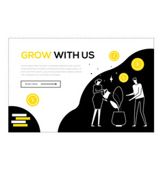 grow with us - flat design style web banner vector image
