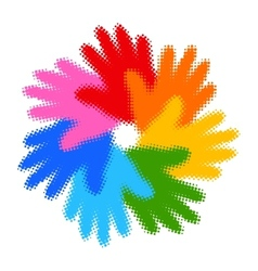 Halftone Colorful Hand Print icon vector image