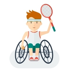 Handicapped athlete tennis player vector