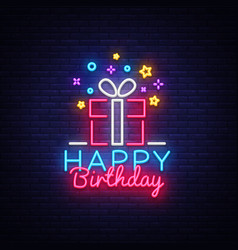 Happy birthday neon sign happy birthday vector