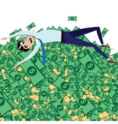 Happy businessman lying on big pile of money vector image