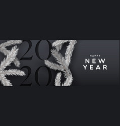 happy new year 2020 black banner snow pine tree vector image