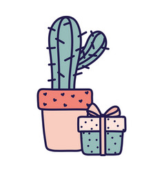 Happy valentines day potted cactus and gift box vector