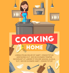 Housewife cooking at home kitchen vector