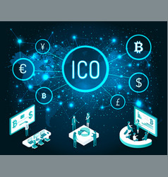 Ico and bitcoin system with meeting set vector