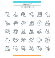 icons set on theme insurance2 vector image