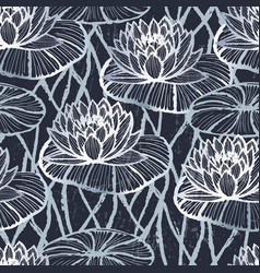 ink hand drawn lotus seamless pattern silver vector image