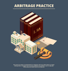 legal justice concept judge law books and hammer vector image