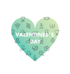 line icons in shape valentines day vector image
