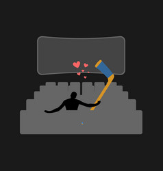 lover hockey guy and hockey stick in movie vector image