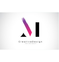M letter logo design with creative pink purple vector