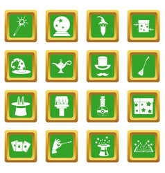 Magic icons set green vector
