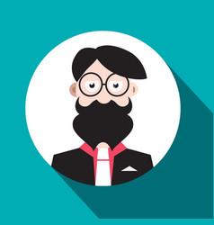 man avatar flat design social media hipster user vector image