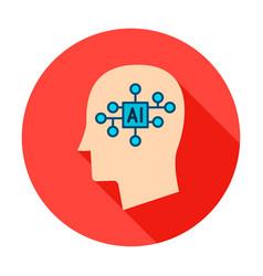 man head ai circle icon vector image