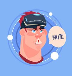 Man mute male emoji wearing 3d virtual glasses vector