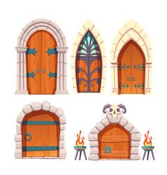 medieval castle dungeon door cartoon set vector image