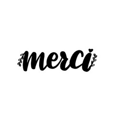 merci lettering greeting card thank vector image