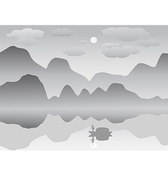 mist mountain reflection lake landscape chinese vector image
