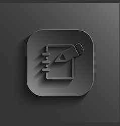 Notepad icon - black app button vector image