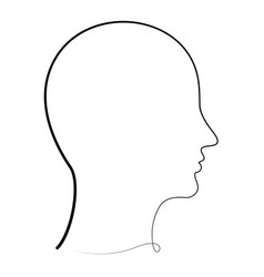 one line human profile vector image