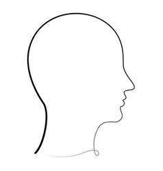 one line human profile vector image