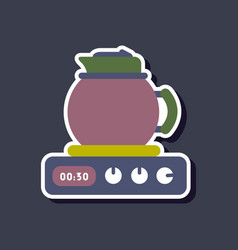 Paper sticker on stylish background coffee kettle vector