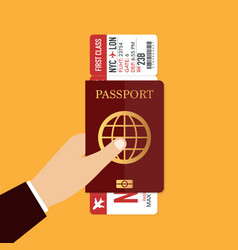 passport with airplane ticket travel concept vector image
