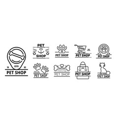 pet store icons set outline style vector image