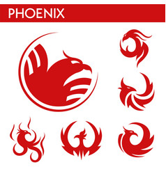 phoenix fire bird template icons set vector image