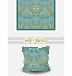 Pillow Blue Flowers vector