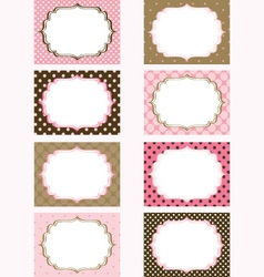 Pink and Brown Printable Labels Tags Photo Frame vector image